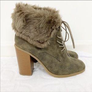 LEILA STONE Joann Fur Heeled Ankle Booties 8.5